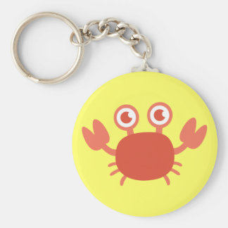Cute Cartoon Red Crab with Bubbles Background Keychain