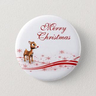 Cute Cartoon Reindeer Christmas Button