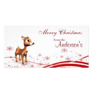 Cute Cartoon Reindeer Christmas Gift Tags Card