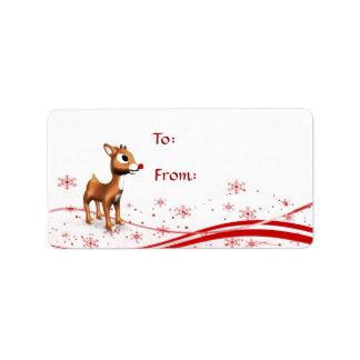 Cute Cartoon Reindeer Christmas Gift Tags Custom Address Labels