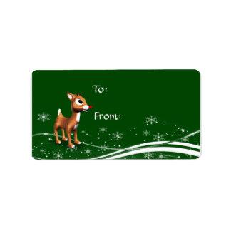 Cute Cartoon Reindeer Christmas Gift Tags Custom Address Label