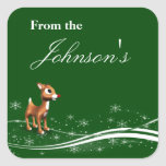 Cute Cartoon Reindeer Christmas Gift Tags Square Sticker