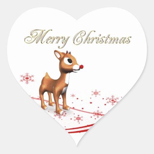 Cute Cartoon Reindeer Christmas Gift Tags Sticker