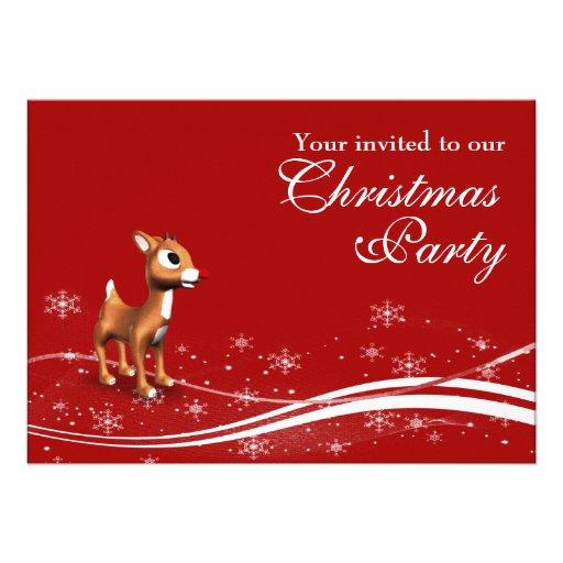 Cute Cartoon Reindeer Christmas Party Invitation