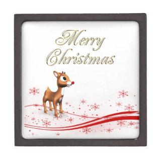 Cute Cartoon Reindeer Christmas Premium Keepsake Box