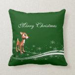 Cute Cartoon Reindeer Christmas Throw Pillows