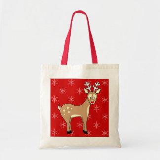 Cute Cartoon Reindeer Holiday Tote Bag Budget Tote Bag