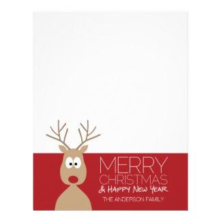 Cute Cartoon Reindeer - Merry Christmas Greeting Letterhead