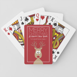 Cute Cartoon Reindeer - Merry Christmas Greeting Playing Cards
