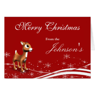 Cute Cartoon Reindeer & Santa Claus Christmas Card
