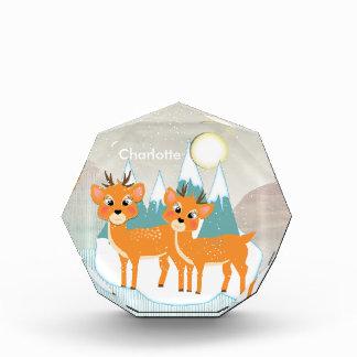 Cute Cartoon Reindeer Snow Scene Festive Christmas Award