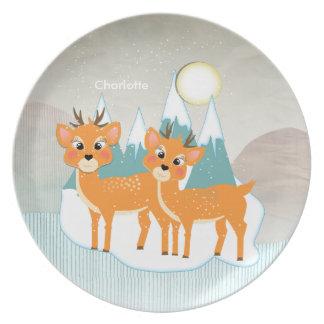 Cute Cartoon Reindeer Snow Scene Festive Christmas Plate