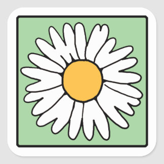 Cute Cartoon Retro Daisy Spring Garden Flower Square Sticker