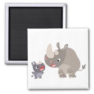Cute Cartoon Rhino Baby & Big Rhino Magnet