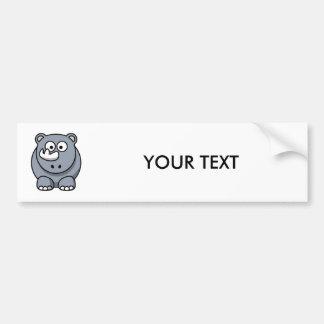 Cute Cartoon Rhinoceros Bumper Sticker