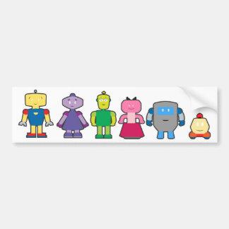 Cute Cartoon Robots Car Bumper Sticker