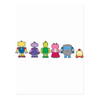 Cute Cartoon Robots Postcard