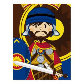Cute Cartoon Roman Centurion Soldier Postcard