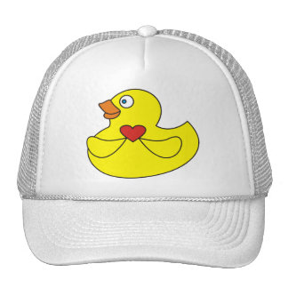 Cute Cartoon Rubber Duck with a Heart Hat