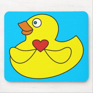 Cute Cartoon Rubber Duck with a Heart Mousepad