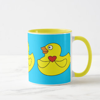 Cute Cartoon Rubber Duck with a Heart Mug