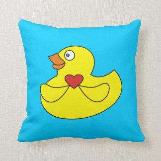 Cute Cartoon Rubber Duck with a Heart Pillow