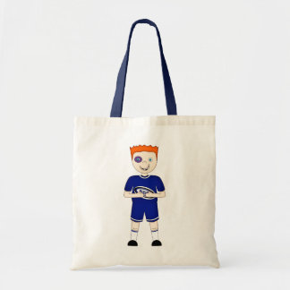 Cute Cartoon Rugby or Rugger Player in Blue Kit Tote Bags