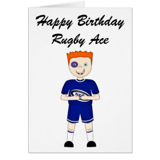 Cute Cartoon Rugby or Rugger Player in Blue Kit Card