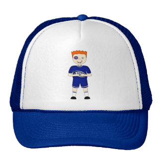Cute Cartoon Rugby or Rugger Player in Blue Kit Trucker Hat