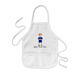 Cute Cartoon Rugby or Rugger Player in Blue Kit Kids' Apron