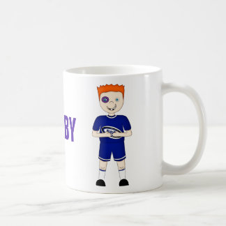 Cute Cartoon Rugby or Rugger Player in Blue Kit Mugs