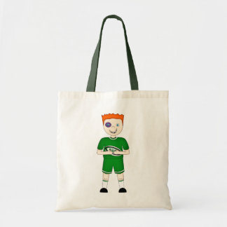 Cute Cartoon Rugby or Rugger Player in Green Kit Bags