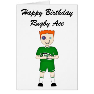 Cute Cartoon Rugby or Rugger Player in Green Kit Card