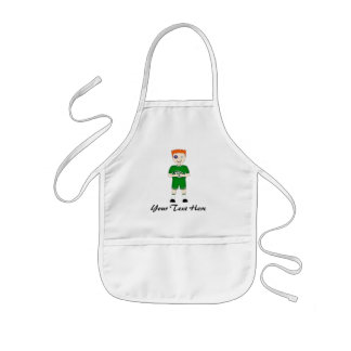 Cute Cartoon Rugby or Rugger Player in Green Kit Kids' Apron