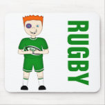 Cute Cartoon Rugby or Rugger Player in Green Kit Mousepads