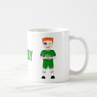 Cute Cartoon Rugby or Rugger Player in Green Kit Mug