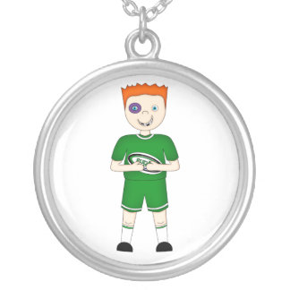 Cute Cartoon Rugby or Rugger Player in Green Kit Necklaces