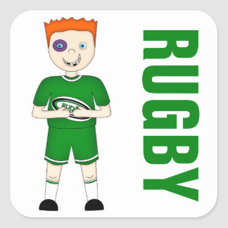 Cute Cartoon Rugby or Rugger Player in Green Kit Square Sticker