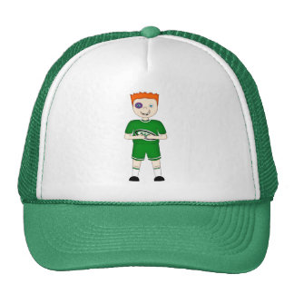 Cute Cartoon Rugby or Rugger Player in Green Kit Trucker Hat