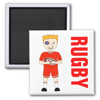 Cute Cartoon Rugby or Rugger Player in Red Kit 2 Inch Square Magnet
