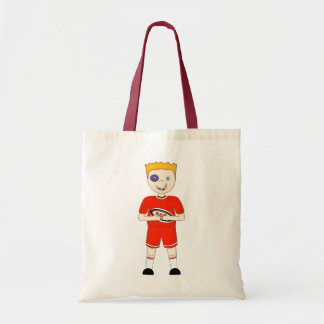 Cute Cartoon Rugby or Rugger Player in Red Kit Canvas Bags