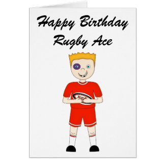 Cute Cartoon Rugby or Rugger Player in Red Kit Card