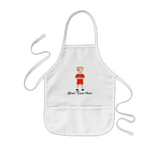 Cute Cartoon Rugby or Rugger Player in Red Kit Kids' Apron