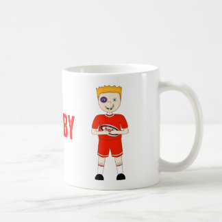 Cute Cartoon Rugby or Rugger Player in Red Kit Coffee Mugs