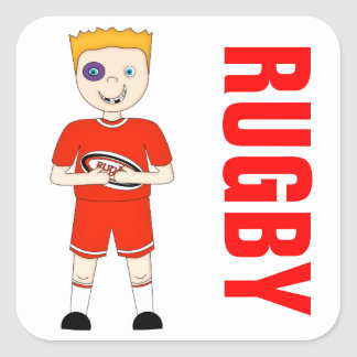 Cute Cartoon Rugby or Rugger Player in Red Kit Square Sticker