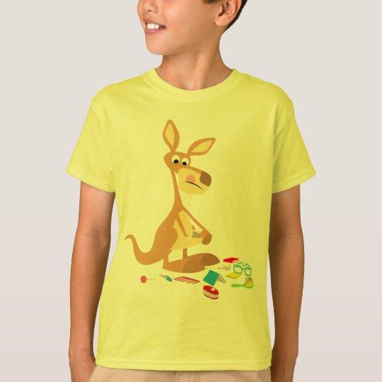 Cute Cartoon Rummaging Kangaroo Children T-Shirt
