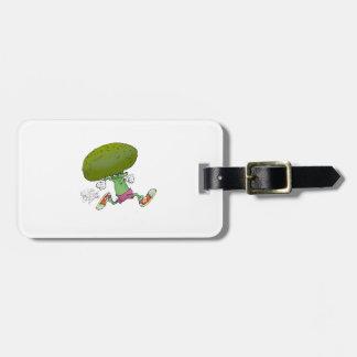 Cute cartoon running Broccoli. Luggage Tag