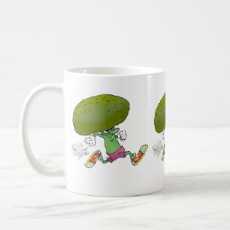 Cute cartoon running Broccoli, on a mug. Coffee Mug