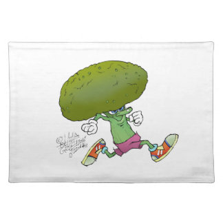 Cute cartoon running Broccoli, on a place mate. Placemat