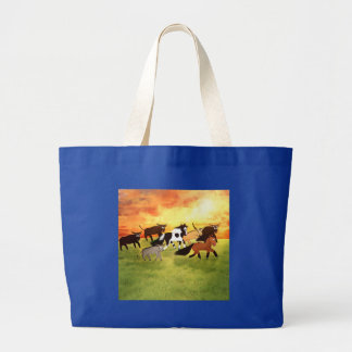 Cute Cartoon running western horses Large Tote Bag
